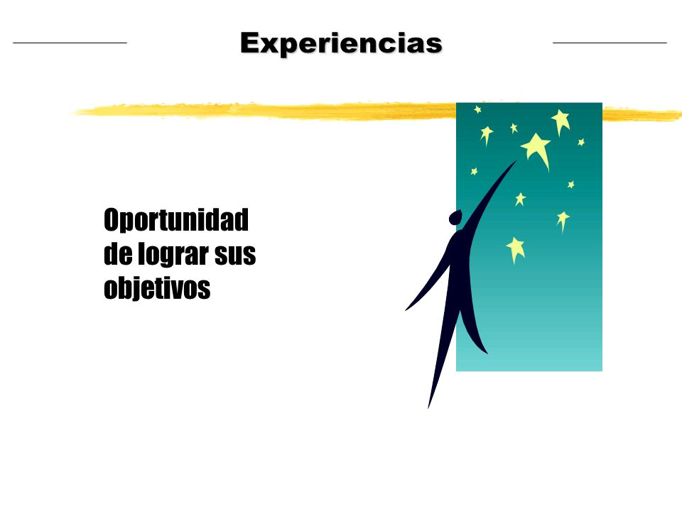 Experiencias Oportunidad de lograr sus objetivos