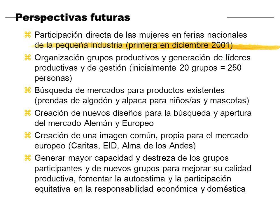 Perspectivas futuras Participación directa de las mujeres en ferias nacionales de la pequeña industria (primera en diciembre 2001)