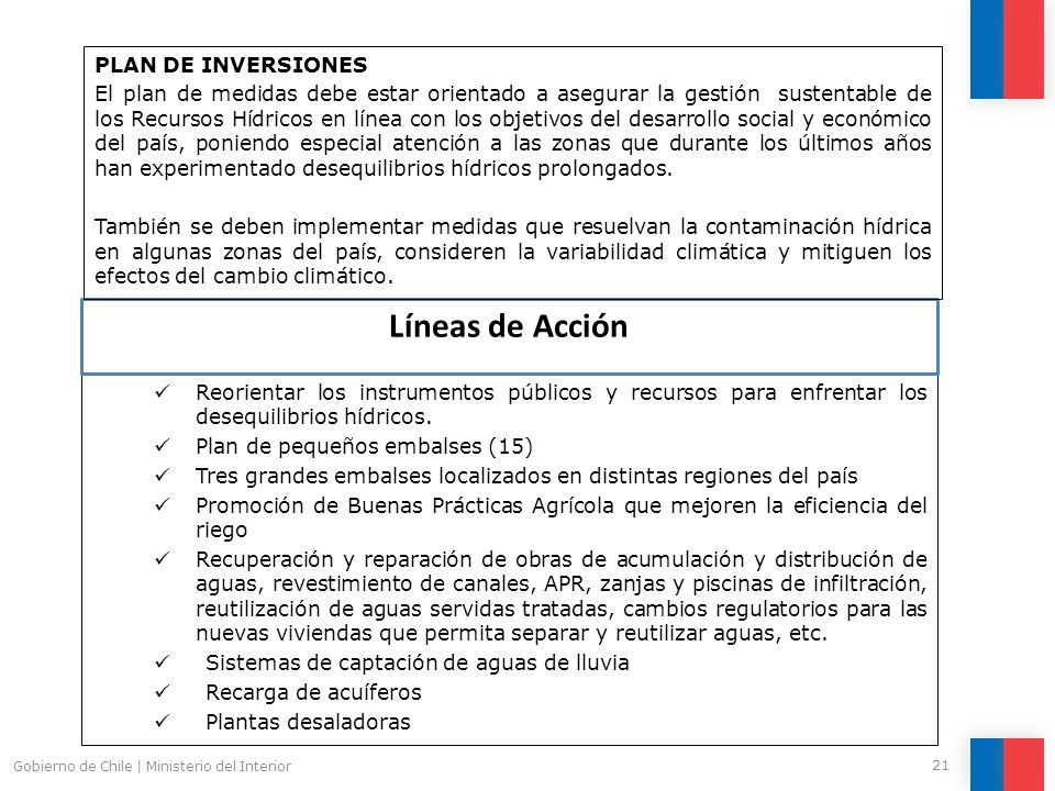 Pol tica y plan de acci n para los recursos h dricos en for Ministerio del interior horario de atencion