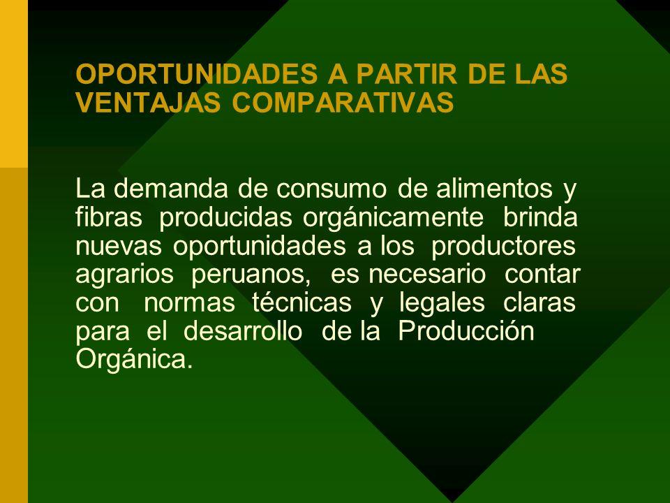 OPORTUNIDADES A PARTIR DE LAS VENTAJAS COMPARATIVAS La demanda de consumo de alimentos y fibras producidas orgánicamente brinda nuevas oportunidades a los productores agrarios peruanos, es necesario contar con normas técnicas y legales claras para el desarrollo de la Producción Orgánica.