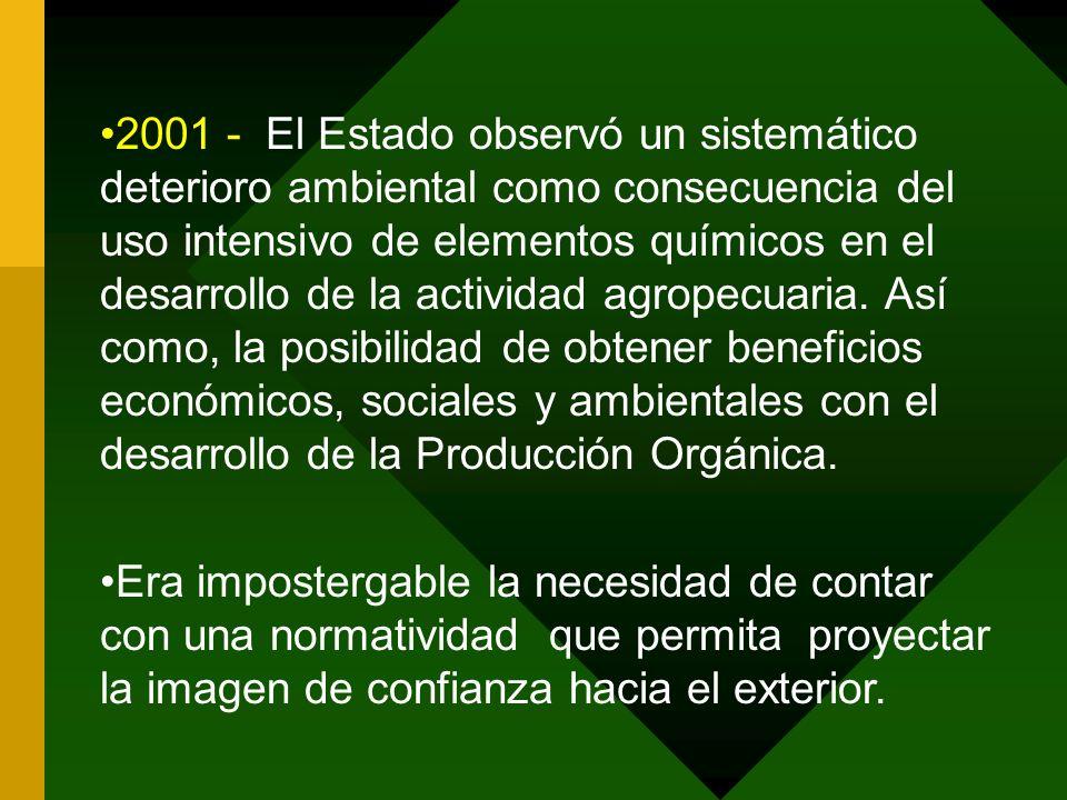 2001 - El Estado observó un sistemático deterioro ambiental como consecuencia del uso intensivo de elementos químicos en el desarrollo de la actividad agropecuaria. Así como, la posibilidad de obtener beneficios económicos, sociales y ambientales con el desarrollo de la Producción Orgánica.