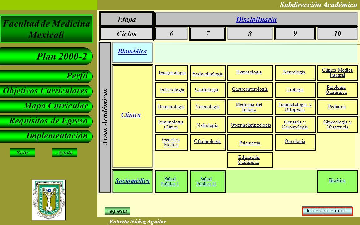 Etapa Disciplinaria Ciclos 6 7 8 9 10 Áreas Académicas Biomédica