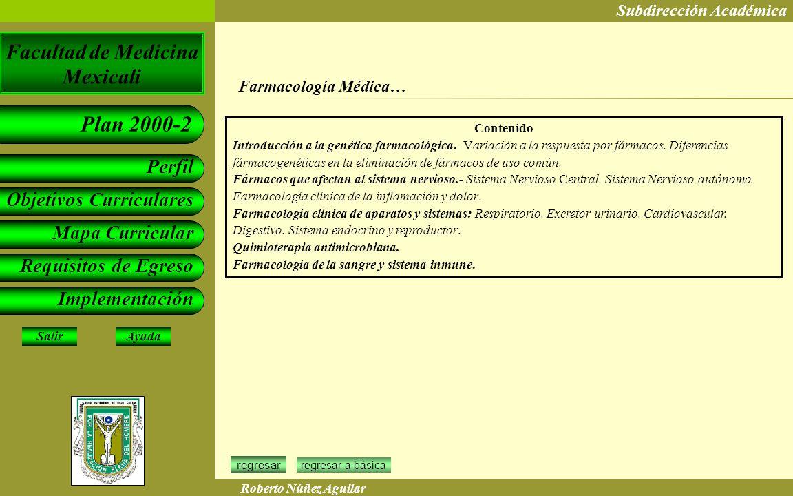 Farmacología Médica… Contenido