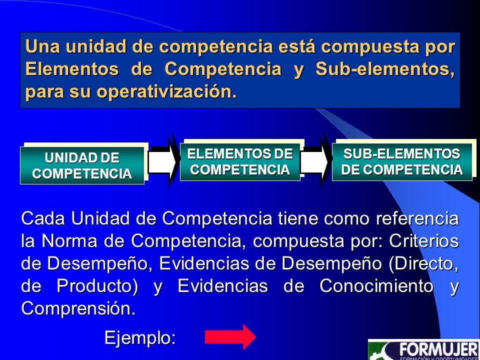 ELEMENTOS DE COMPETENCIA SUB-ELEMENTOS DE COMPETENCIA
