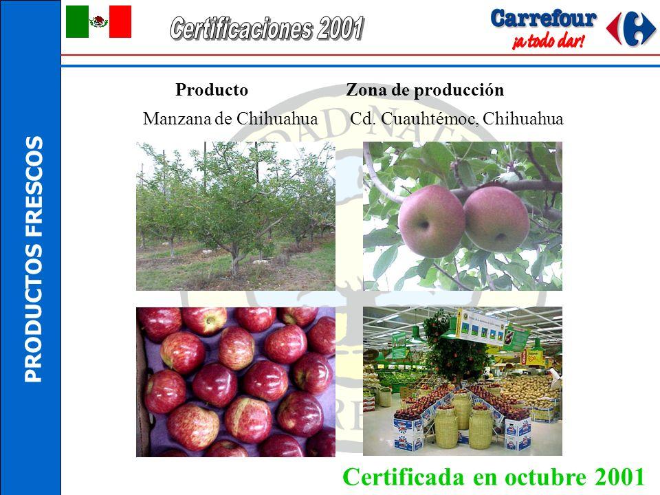 Certificaciones 2001 Certificada en octubre 2001