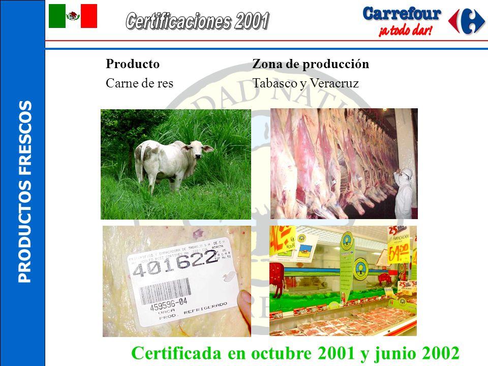 Certificaciones 2001 Certificada en octubre 2001 y junio 2002