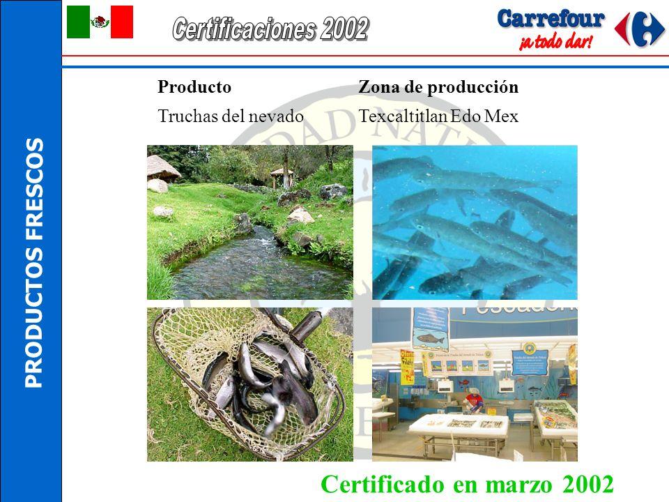 Certificaciones 2002 Certificado en marzo 2002