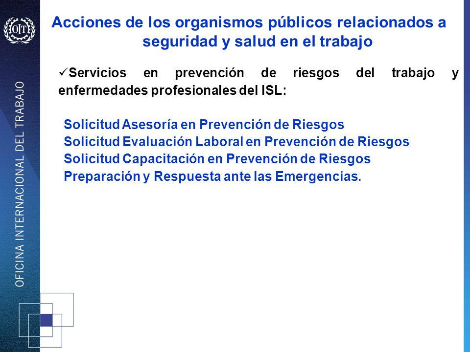 Acciones de los organismos públicos relacionados a seguridad y salud en el trabajo