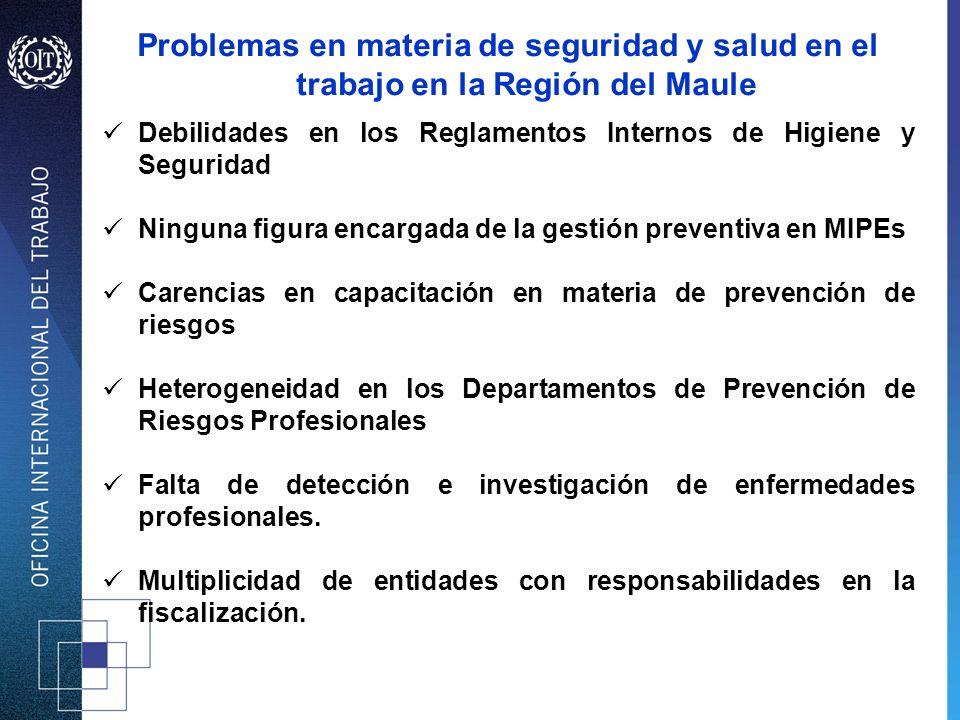 Problemas en materia de seguridad y salud en el trabajo en la Región del Maule