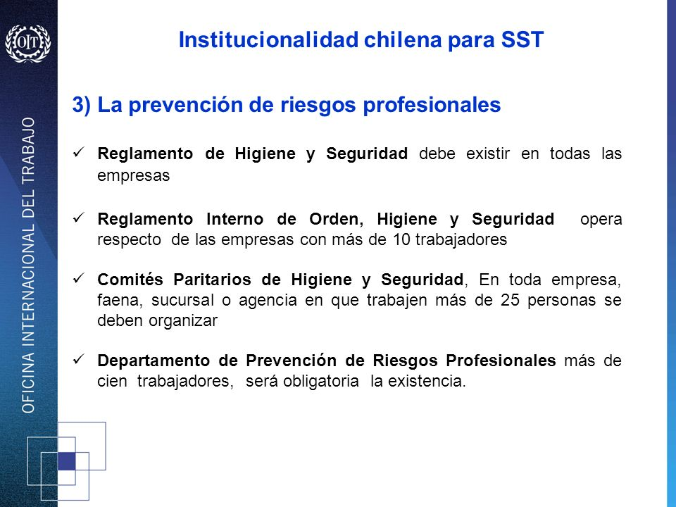 Institucionalidad chilena para SST