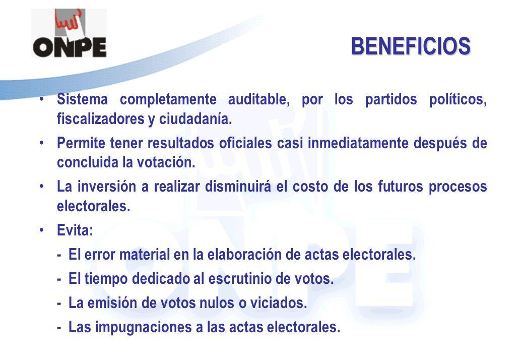 BENEFICIOS Sistema completamente auditable, por los partidos políticos, fiscalizadores y ciudadanía.