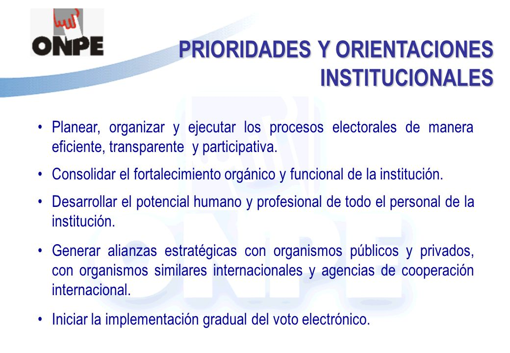 PRIORIDADES Y ORIENTACIONES INSTITUCIONALES