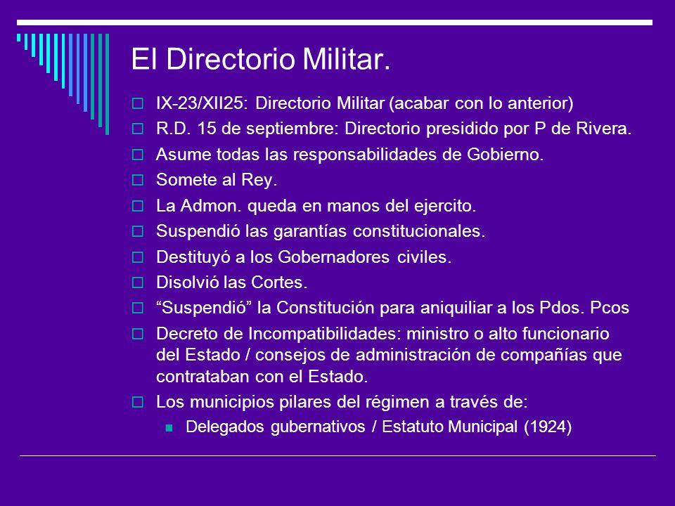 El Directorio Militar. IX-23/XII25: Directorio Militar (acabar con lo anterior) R.D. 15 de septiembre: Directorio presidido por P de Rivera.