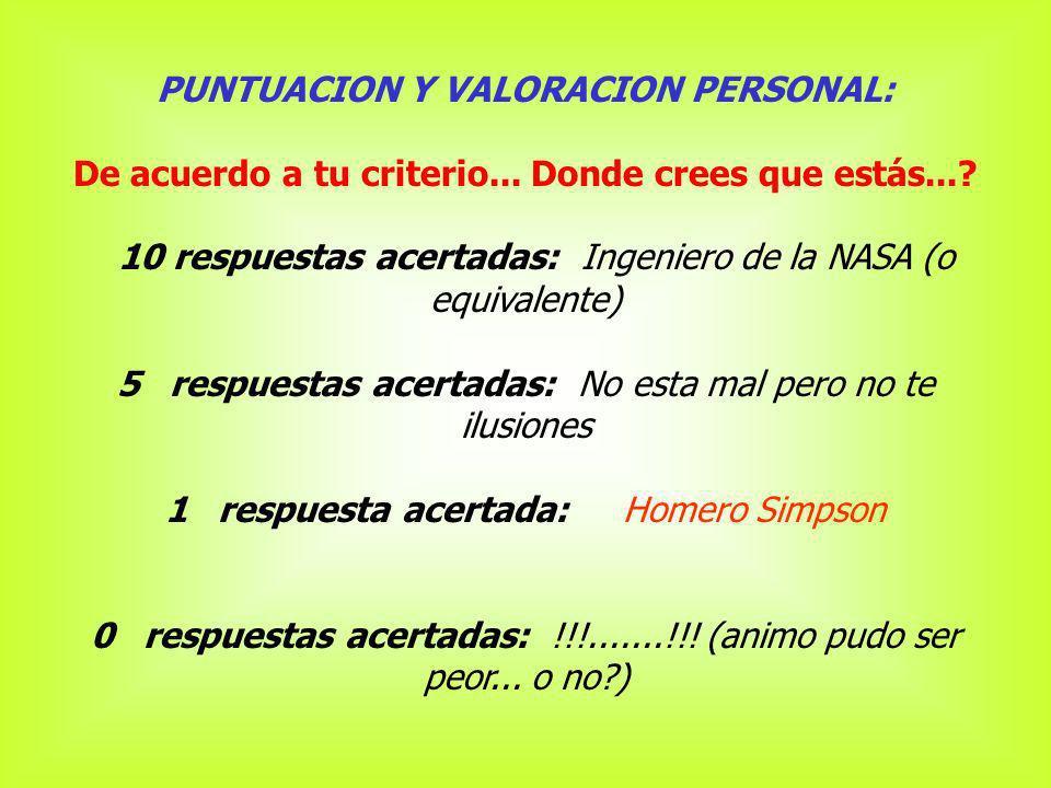 PUNTUACION Y VALORACION PERSONAL: