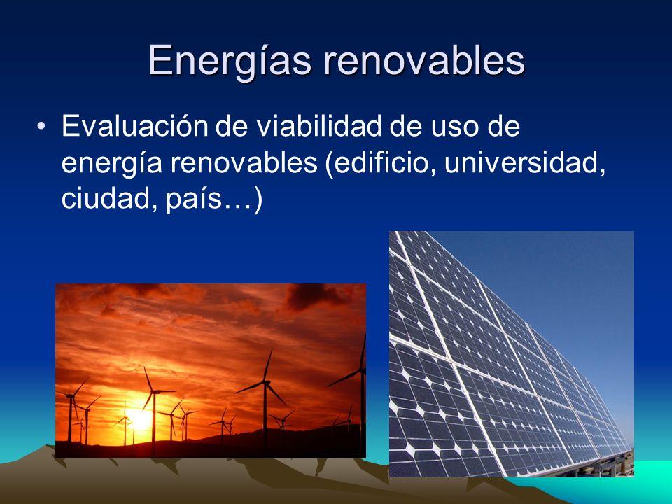 Energías renovables Evaluación de viabilidad de uso de energía renovables (edificio, universidad, ciudad, país…)