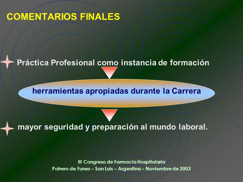 COMENTARIOS FINALES Práctica Profesional como instancia de formación mayor seguridad y preparación al mundo laboral.