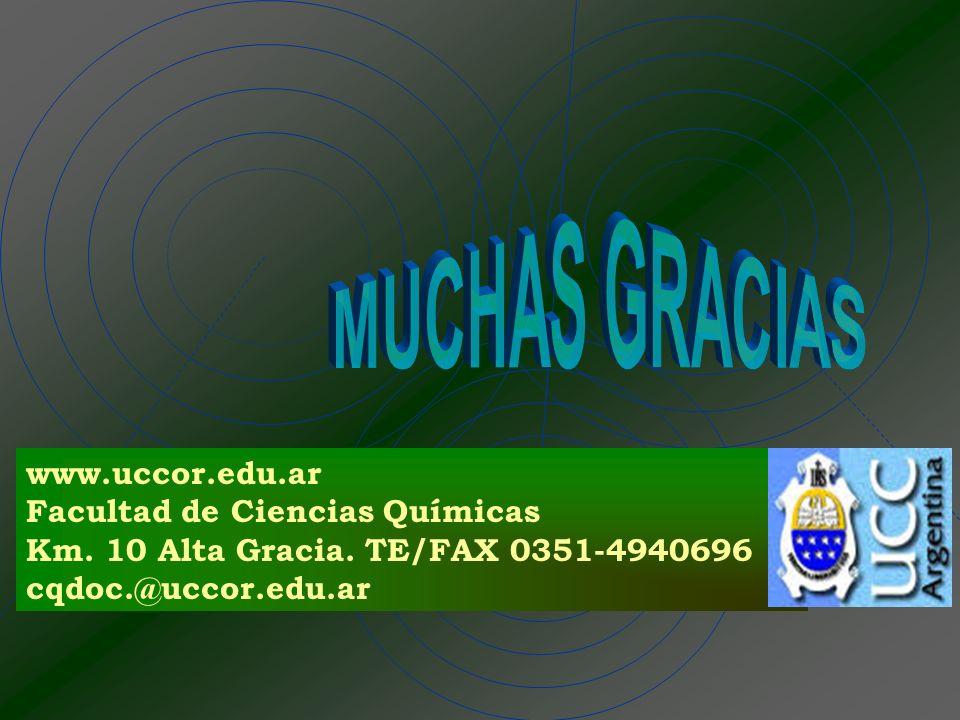 MUCHAS GRACIAS www.uccor.edu.ar Facultad de Ciencias Químicas
