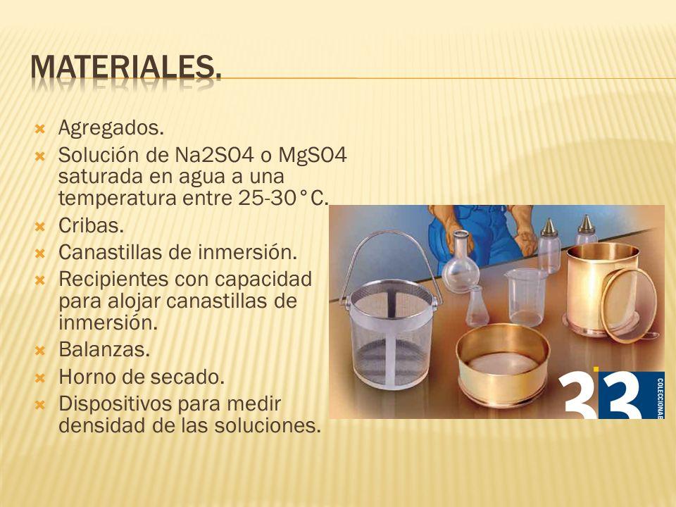Materiales.Agregados. Solución de Na2SO4 o MgSO4 saturada en agua a una temperatura entre 25-30°C. Cribas.