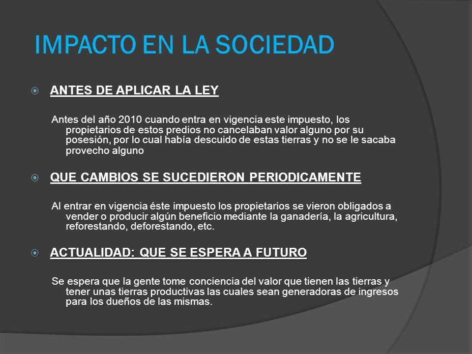 IMPACTO EN LA SOCIEDAD ANTES DE APLICAR LA LEY
