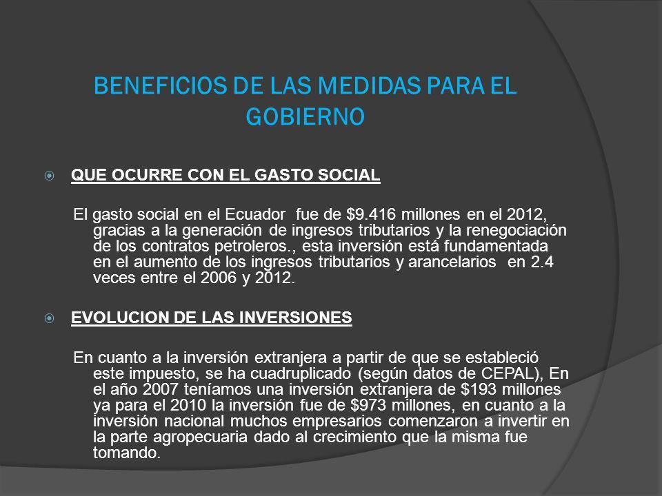 BENEFICIOS DE LAS MEDIDAS PARA EL GOBIERNO