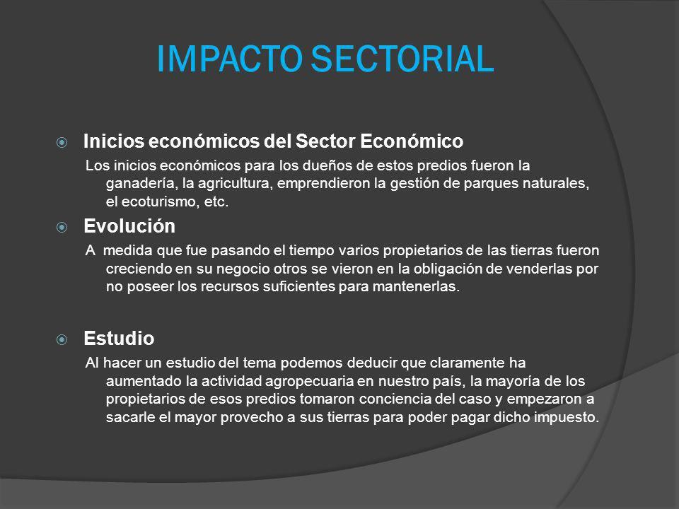 IMPACTO SECTORIAL Inicios económicos del Sector Económico Evolución