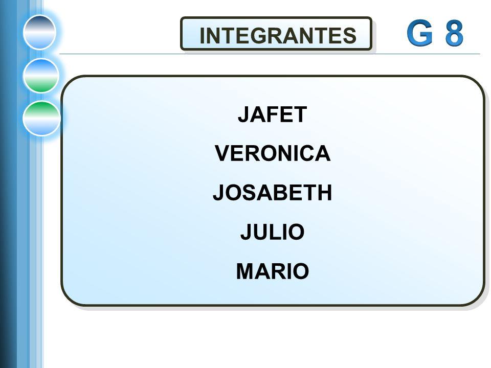 G 8 INTEGRANTES JAFET VERONICA JOSABETH JULIO MARIO