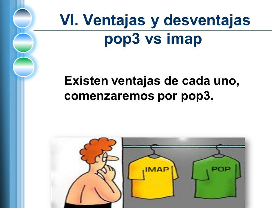 VI. Ventajas y desventajas pop3 vs imap