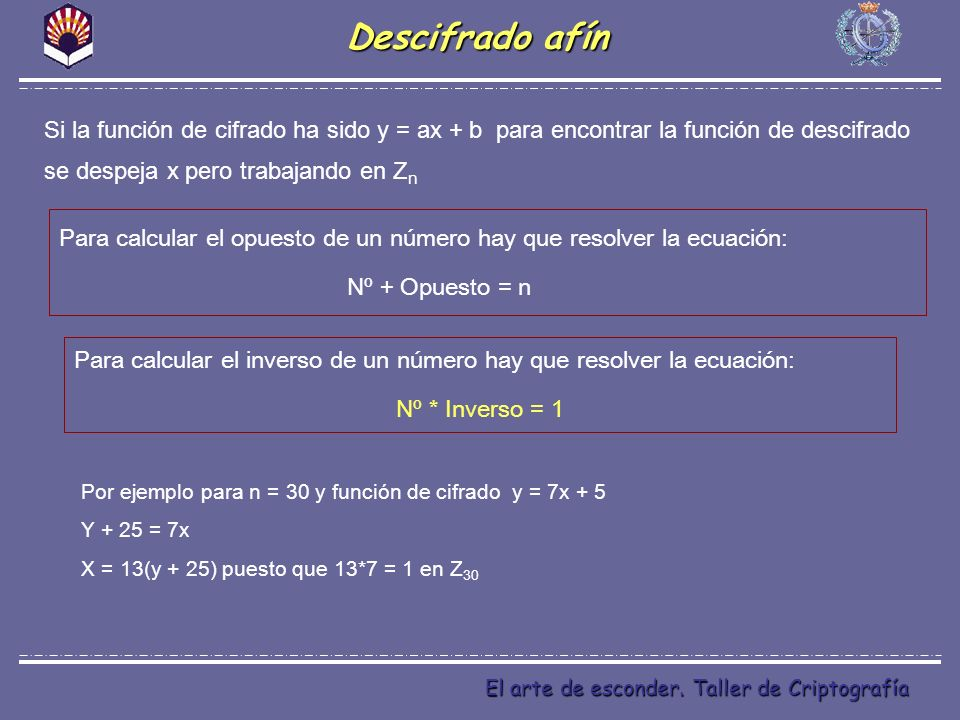 Descifrado afín Si la función de cifrado ha sido y = ax + b para encontrar la función de descifrado se despeja x pero trabajando en Zn.