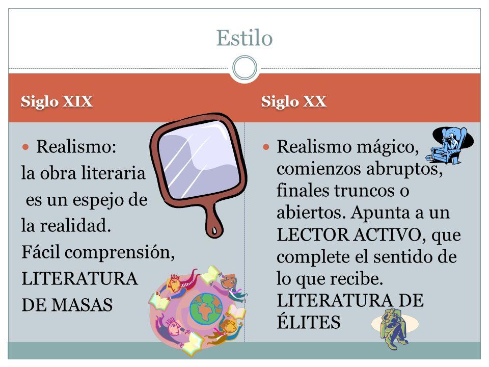 Estilo Realismo: la obra literaria es un espejo de la realidad.