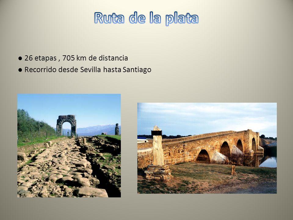 Ruta de la plata ● 26 etapas , 705 km de distancia ● Recorrido desde Sevilla hasta Santiago