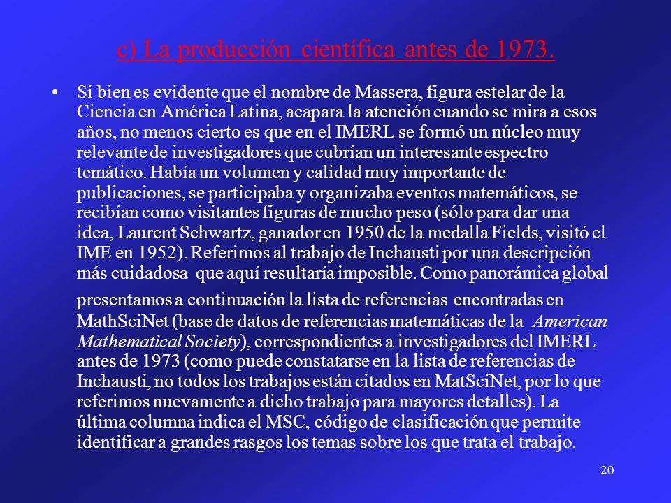 c) La producción científica antes de 1973.