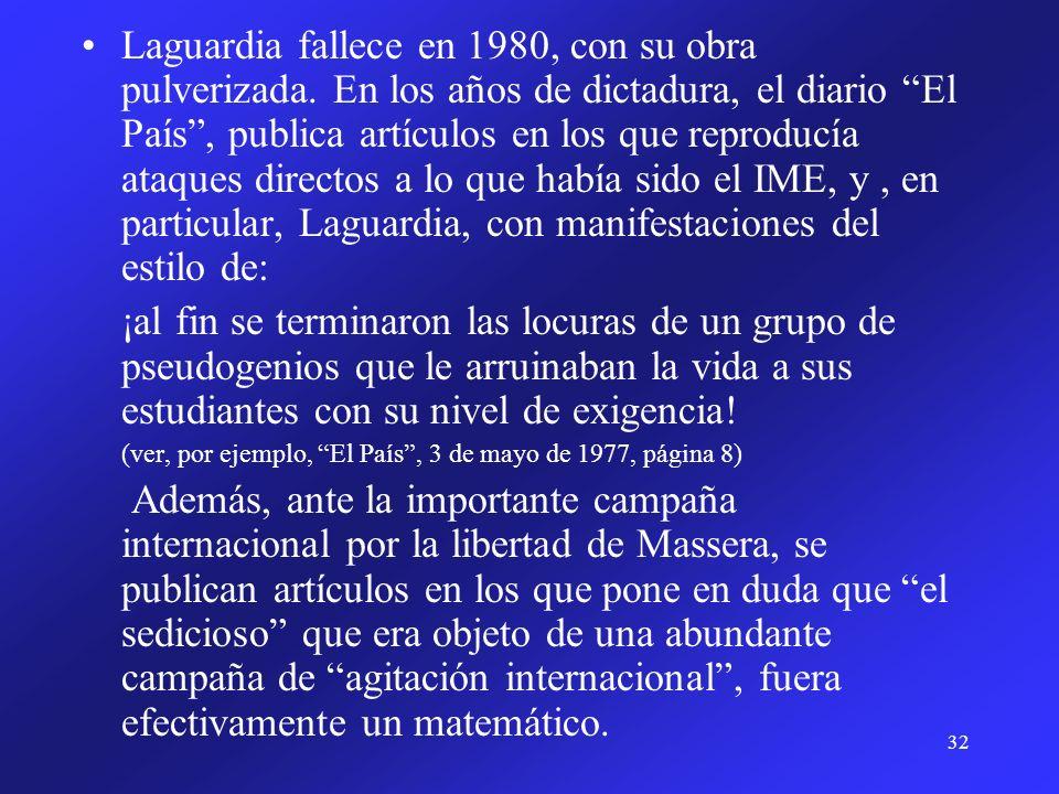 Laguardia fallece en 1980, con su obra pulverizada