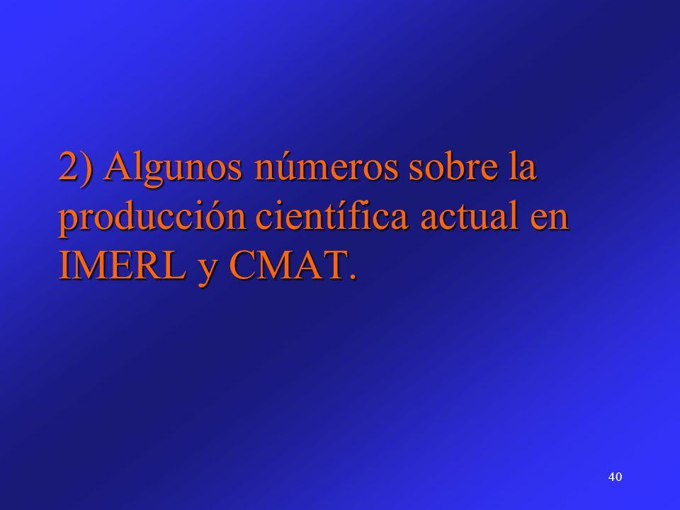 2) Algunos números sobre la producción científica actual en IMERL y CMAT.