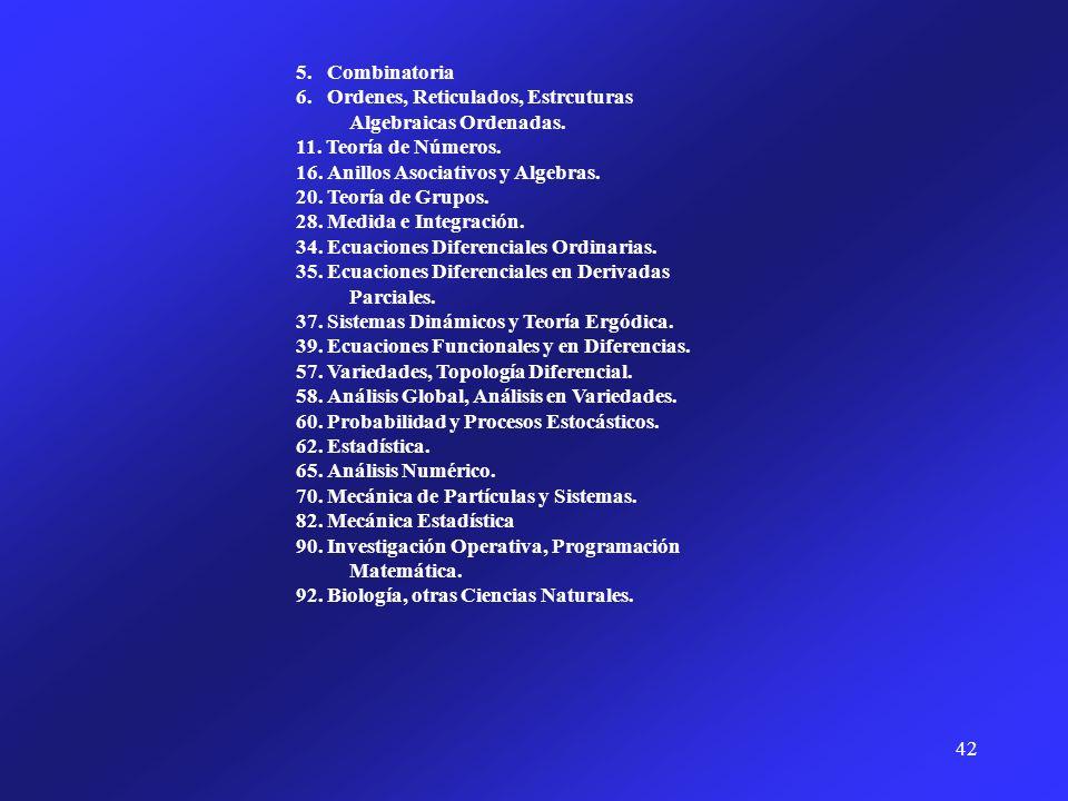 5. Combinatoria 6. Ordenes, Reticulados, Estrcuturas Algebraicas Ordenadas. 11. Teoría de Números.