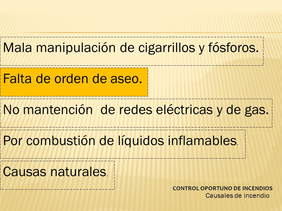 Mala manipulación de cigarrillos y fósforos.