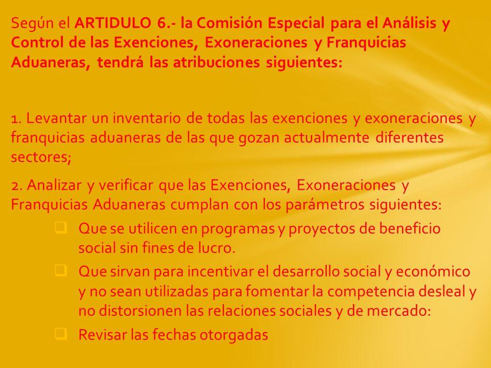 Según el ARTIDULO 6.- la Comisión Especial para el Análisis y Control de las Exenciones, Exoneraciones y Franquicias Aduaneras, tendrá las atribuciones siguientes: