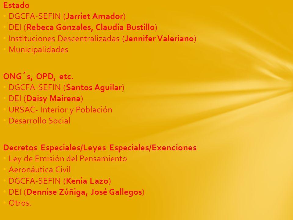 Estado DGCFA-SEFIN (Jarriet Amador) DEI (Rebeca Gonzales, Claudia Bustillo) Instituciones Descentralizadas (Jennifer Valeriano)