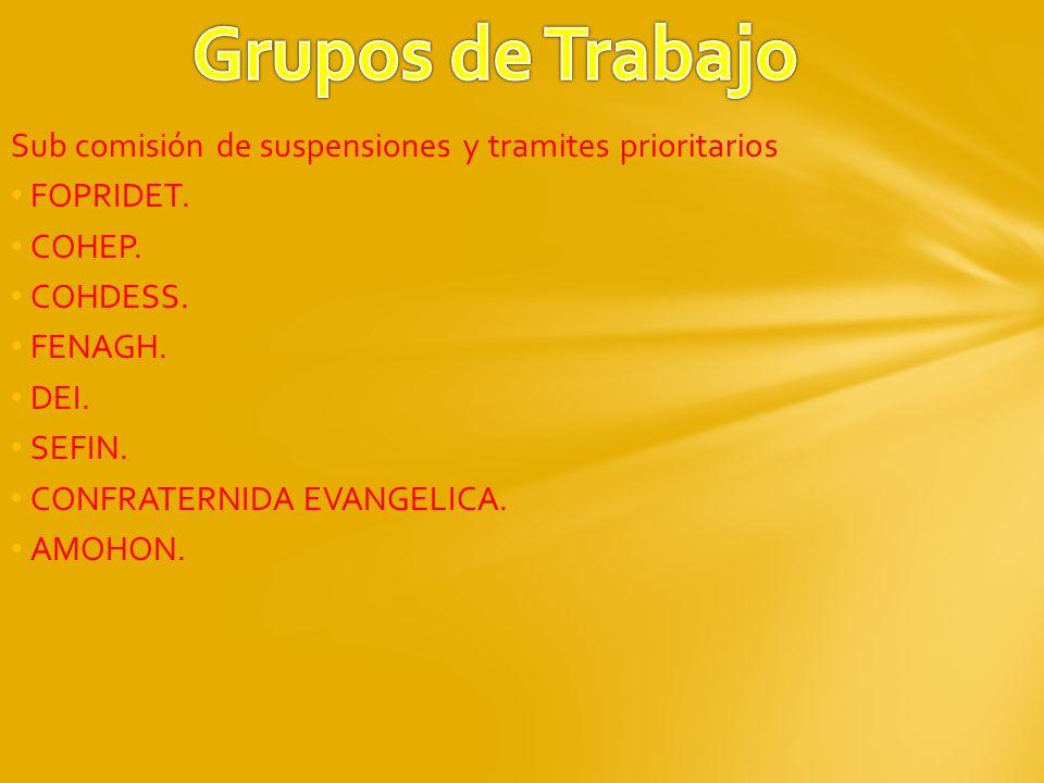 Grupos de Trabajo Sub comisión de suspensiones y tramites prioritarios