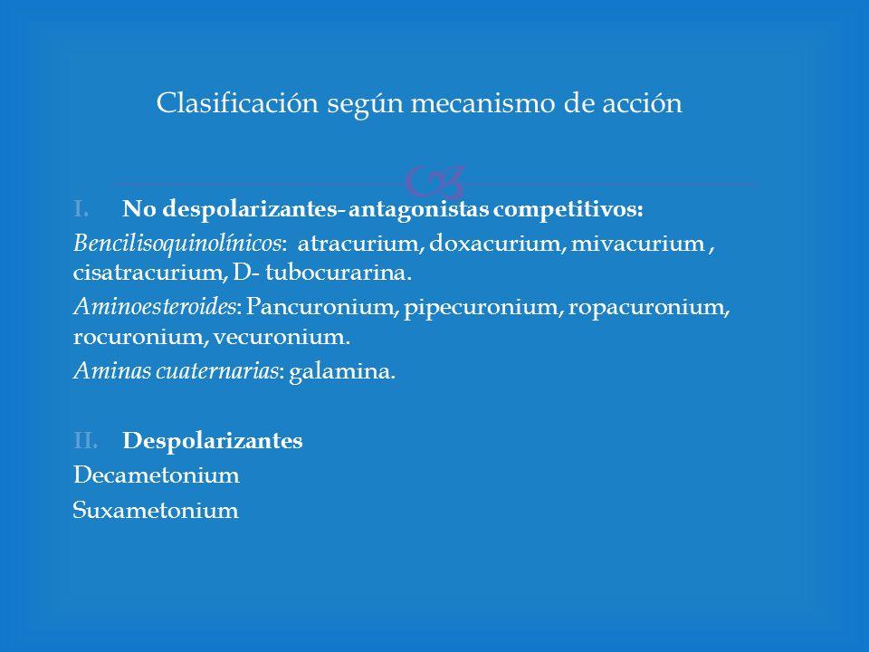 Clasificación según mecanismo de acción