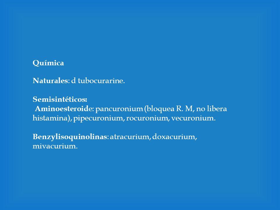 Química Naturales: d tubocurarine. Semisintéticos: