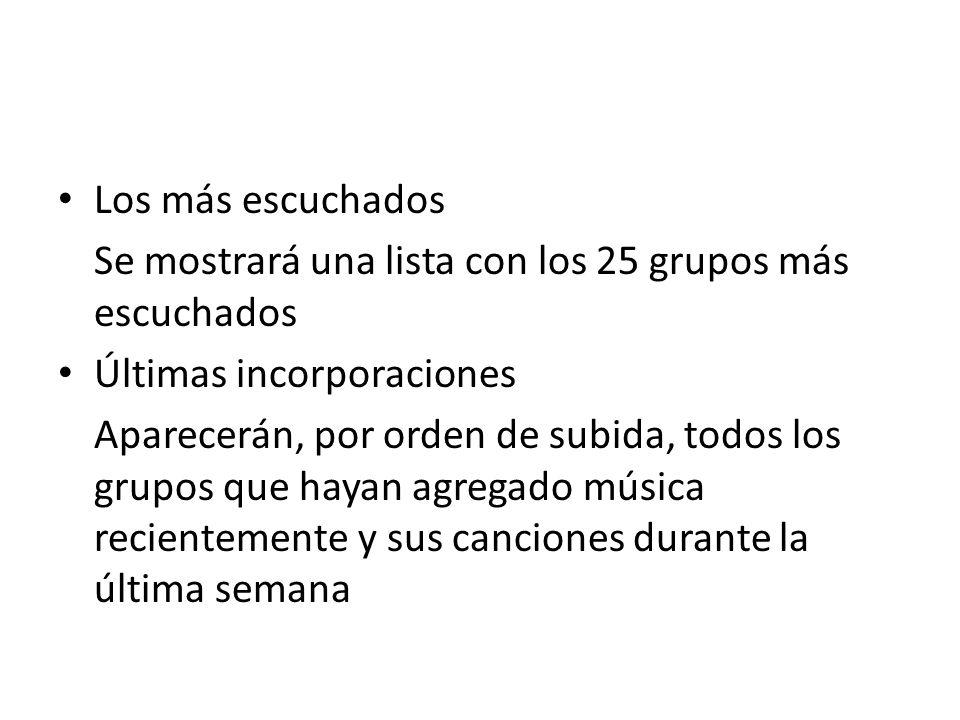 Los más escuchados Se mostrará una lista con los 25 grupos más escuchados. Últimas incorporaciones.