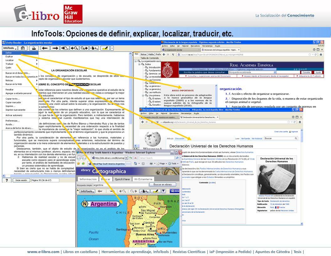InfoTools: Opciones de definir, explicar, localizar, traducir, etc.