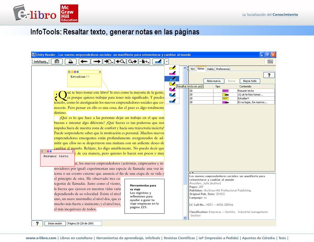 InfoTools: Resaltar texto, generar notas en las páginas