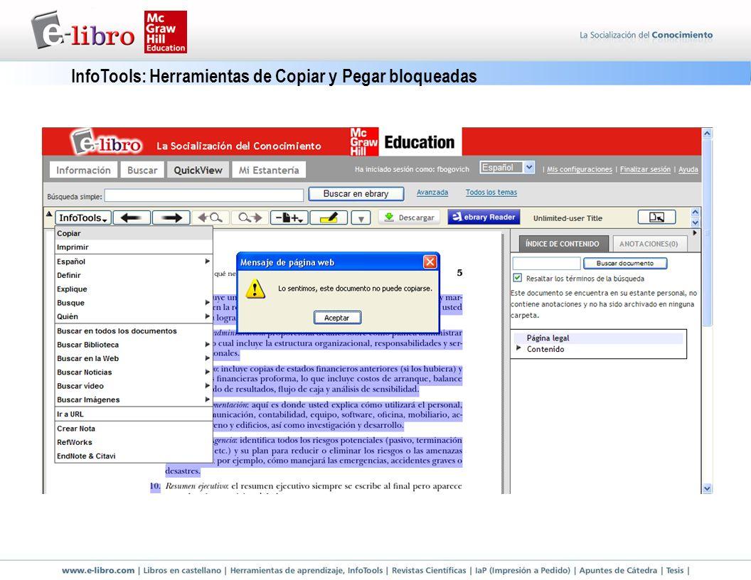 InfoTools: Herramientas de Copiar y Pegar bloqueadas