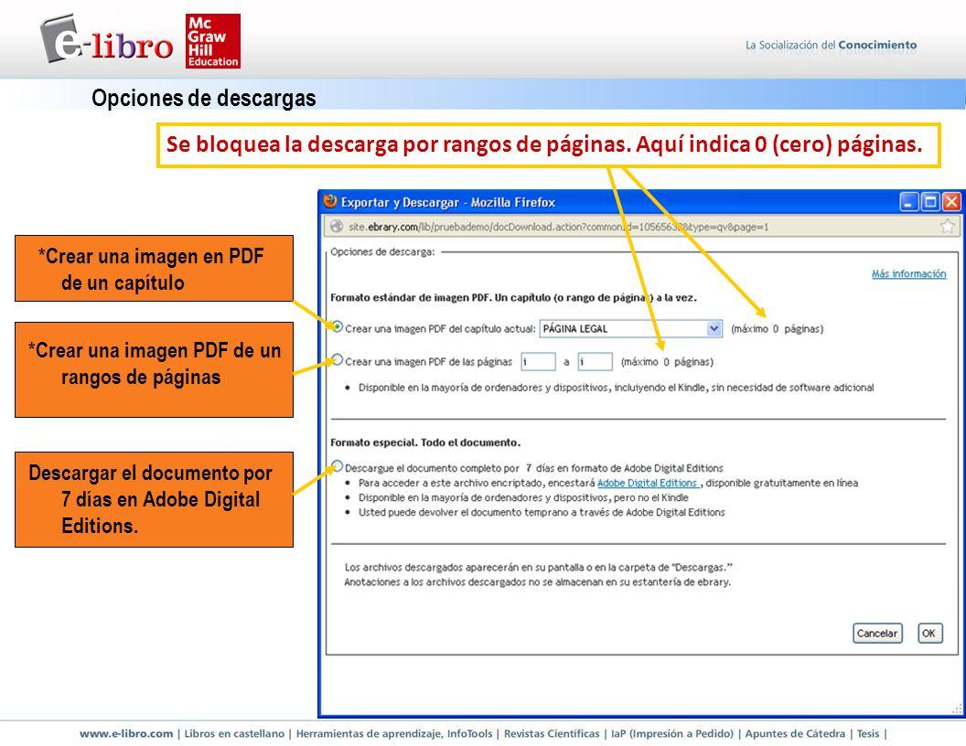 Opciones de descargas Se bloquea la descarga por rangos de páginas. Aquí indica 0 (cero) páginas. *Crear una imagen en PDF de un capítulo.