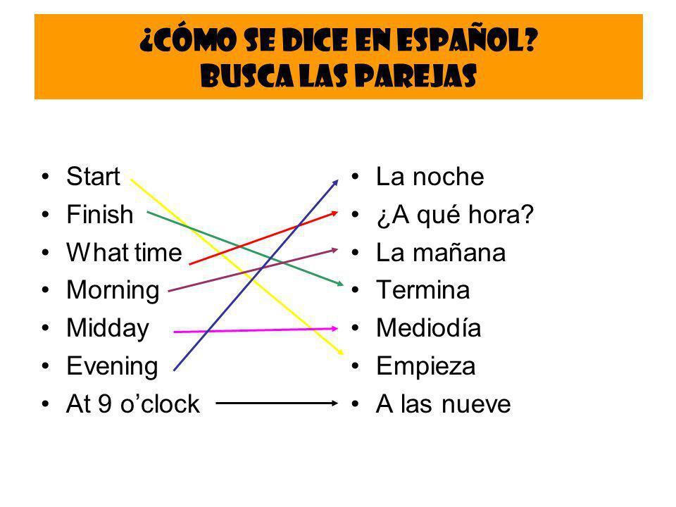 ¿Cómo se dice en español Busca las parejas