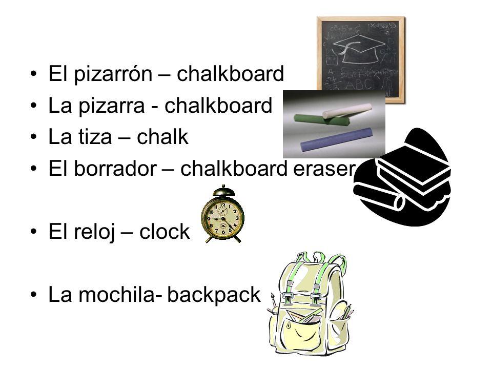 El pizarrón – chalkboard