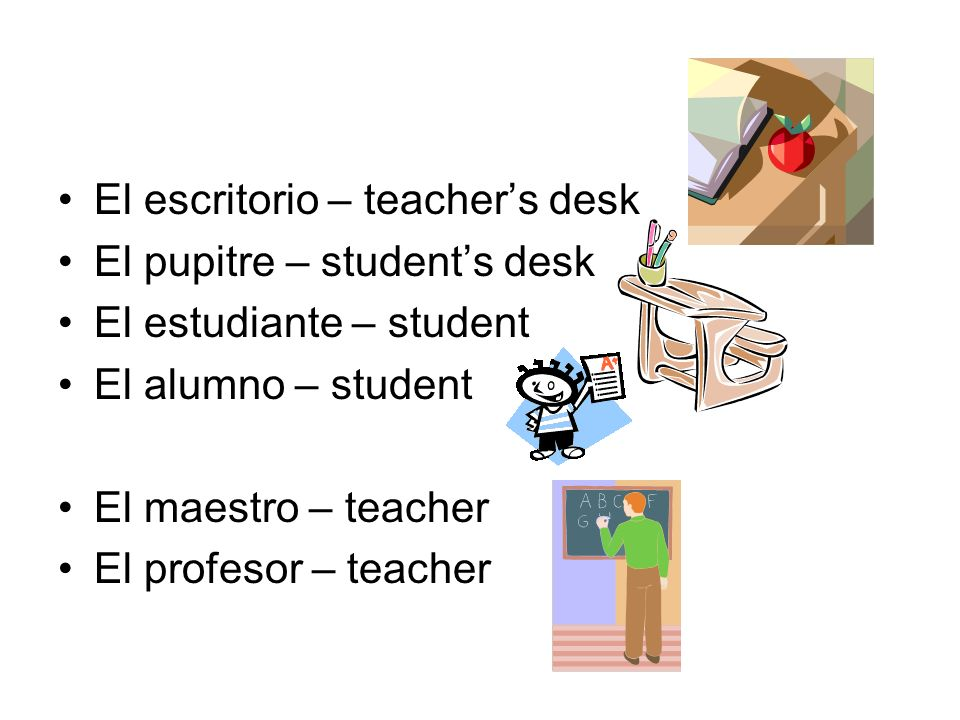 El escritorio – teacher's desk