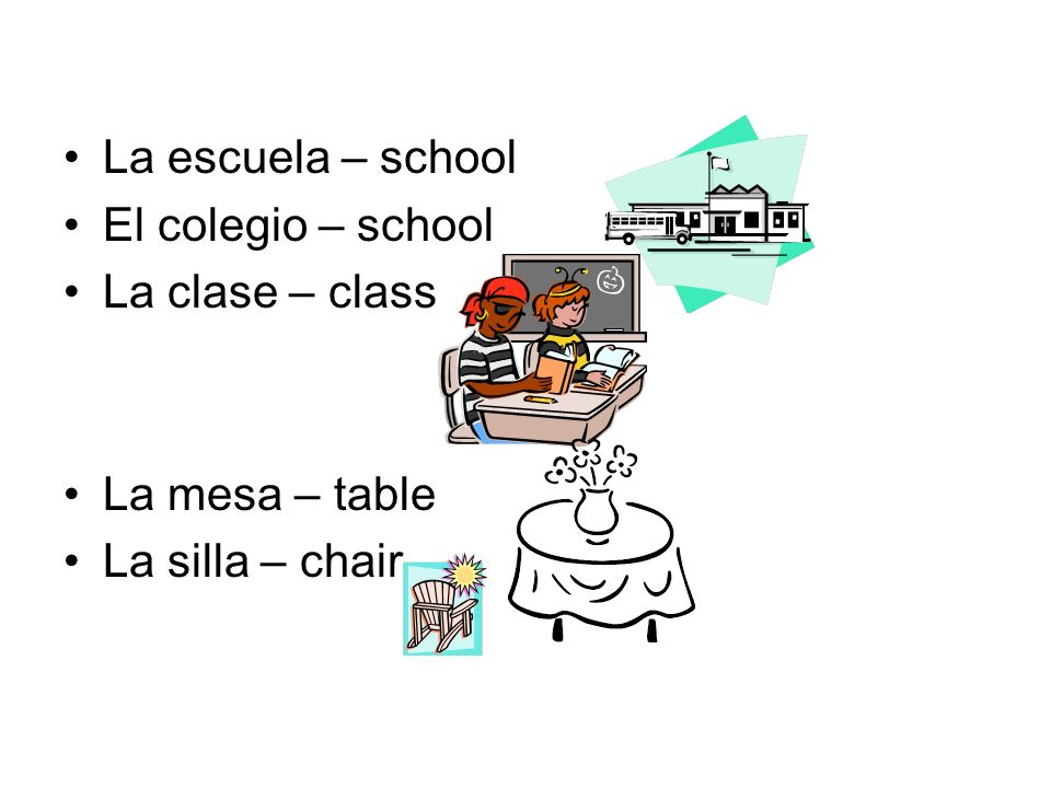 La escuela – school El colegio – school La clase – class La mesa – table La silla – chair