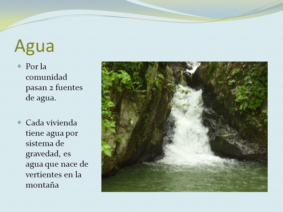 Agua Por la comunidad pasan 2 fuentes de agua.
